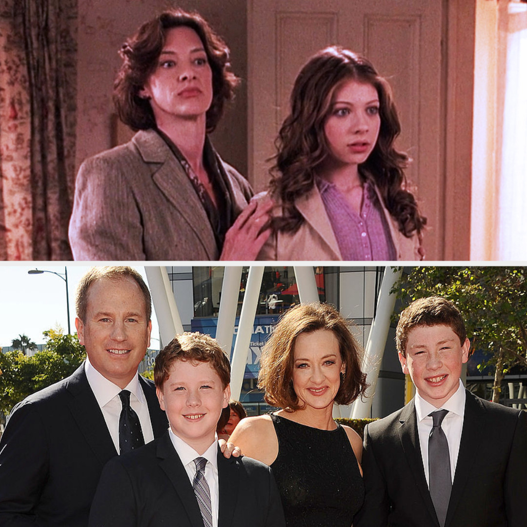 Top: Joan Cusack in character as Joan Carlyle talks to her fictional daughter played by Michelle Trachtenberg Bottom: Joan Cusack with her husband and her children Miles and Dylan