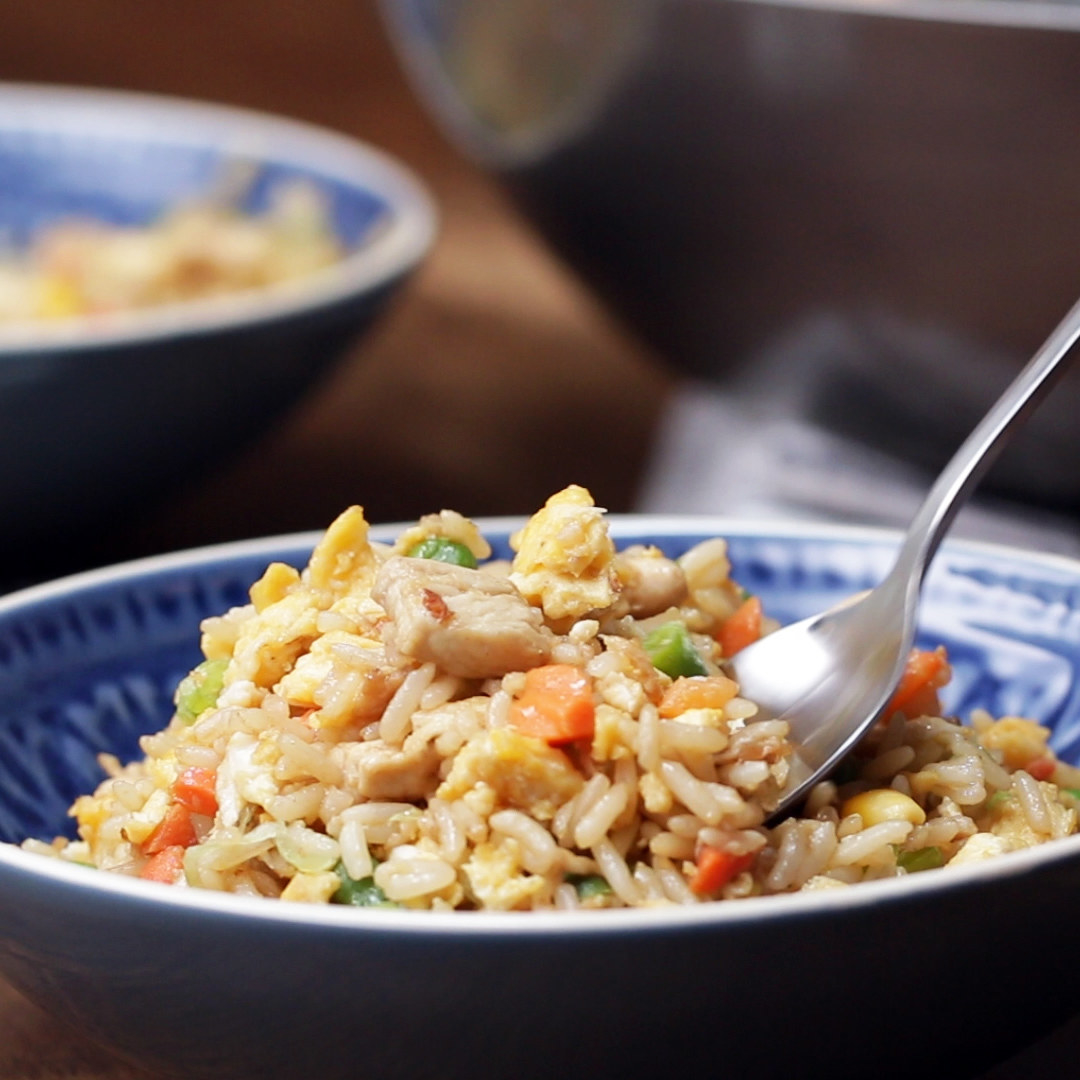 Bowl of chicken fried rice
