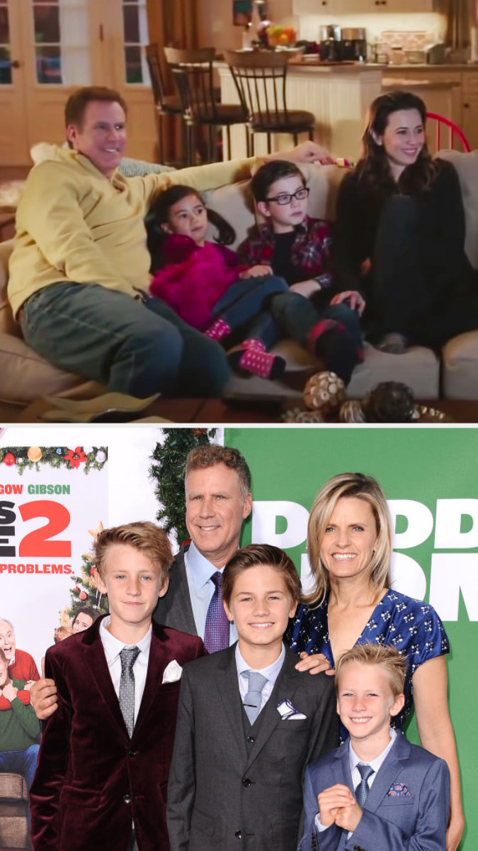 Top: Will Ferrell in character as Brad Whitaker with his fictional TV stepchildren and wife sitting on the couch Bottom: Will Ferrell with his wife and his kids Magnus, Mattias, and Axel