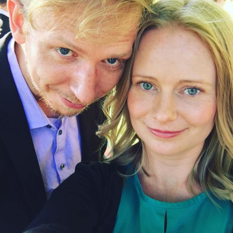 A close-up of Erin and her husband
