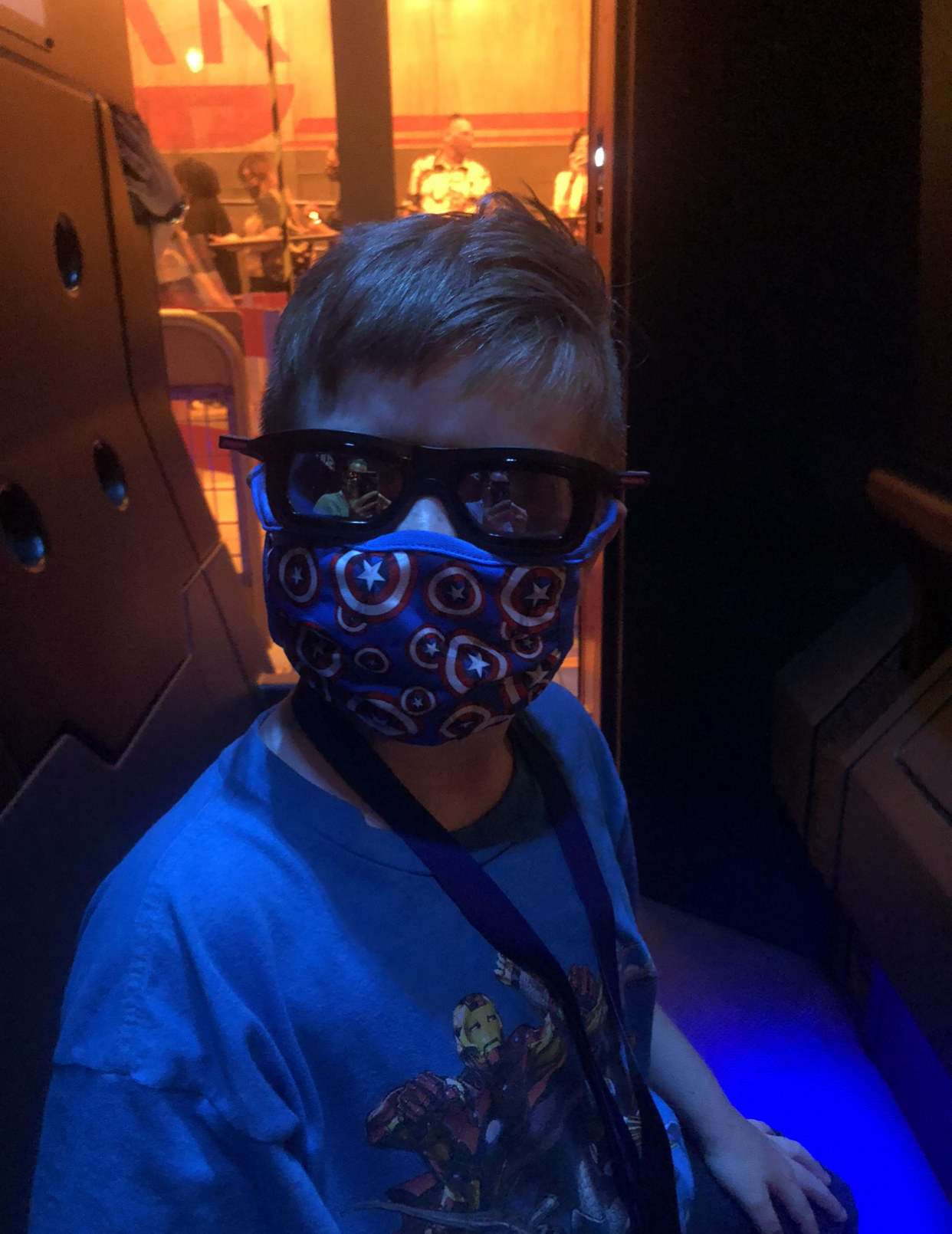 James (the boy) on the ride wearing 3D glasses