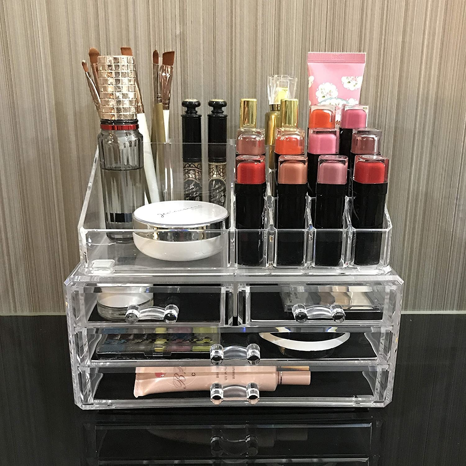 the organizer filled with makeup