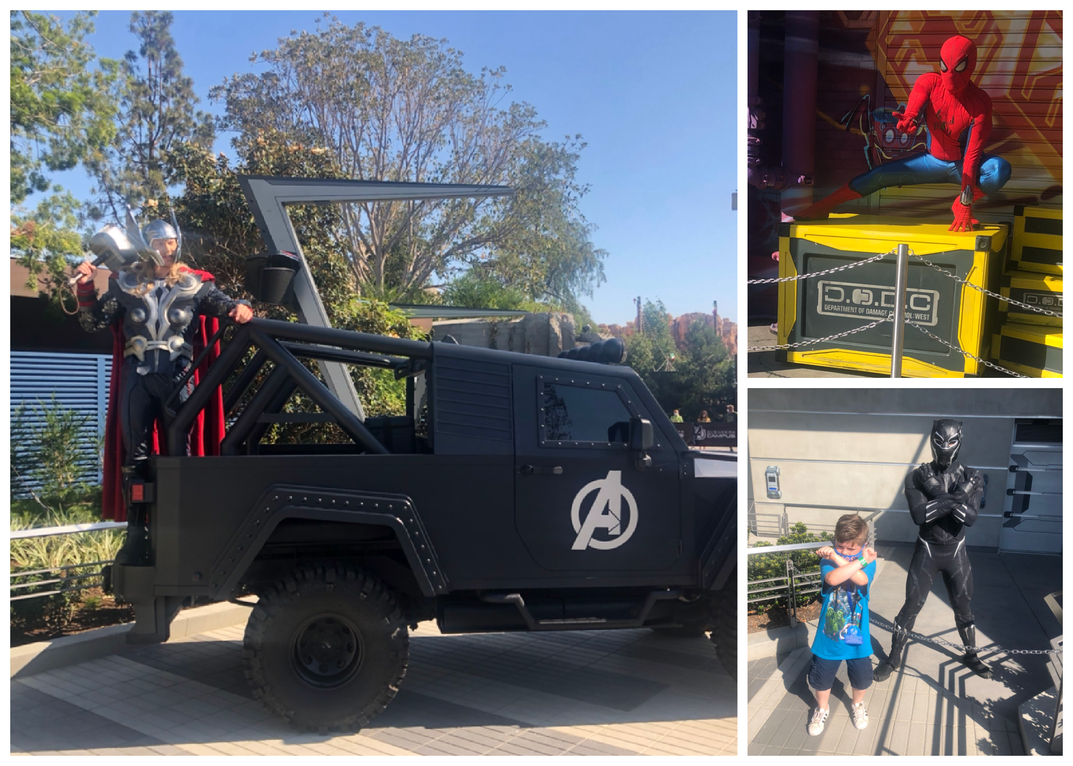 Thor holds his hammer on the avengers truck, spidey crouches, and James crosses his arms with Black Panther