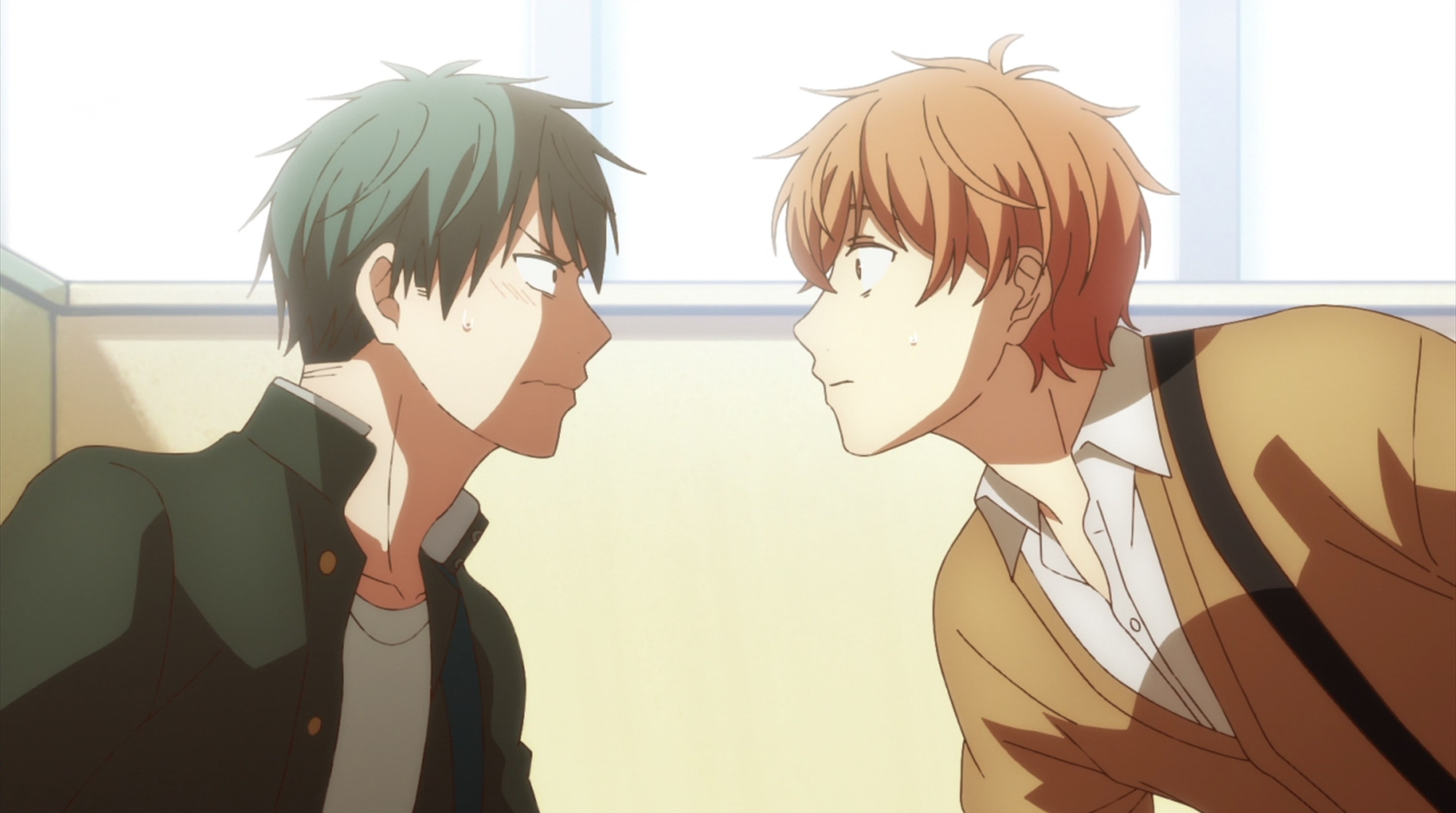 Ritsuka and Mafuyu looking at each other nervously.