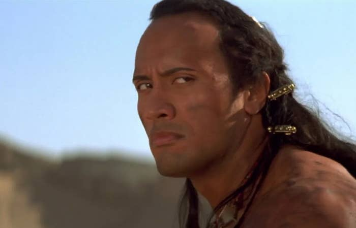 Close up of The Scorpion King frowning while looking to the side