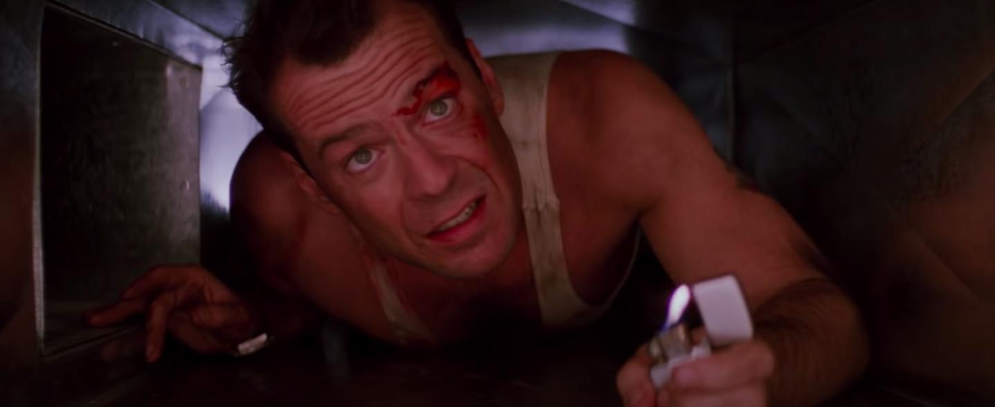 """John McClane in the air duct in """"Die Hard"""""""