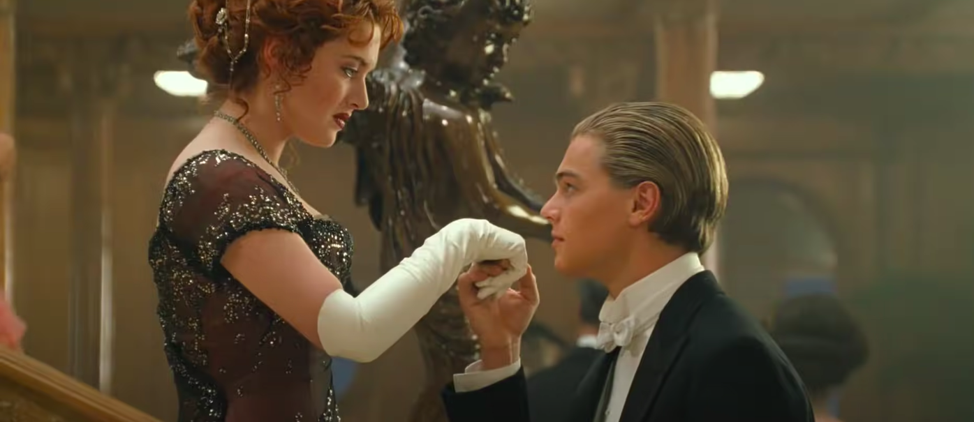 """Jack about to kiss Rose's hand in """"Titanic"""""""