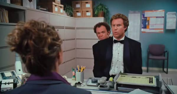"""Dale sitting directly behind Brennan in a job interview in """"Step Brothers"""""""