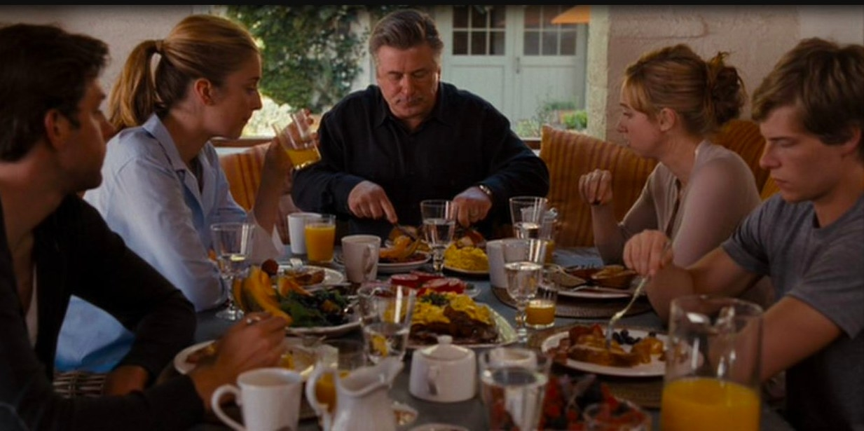A family sits around a table covered in breakfast food in It's Complicated