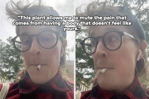 作者吸烟大麻的并排图像