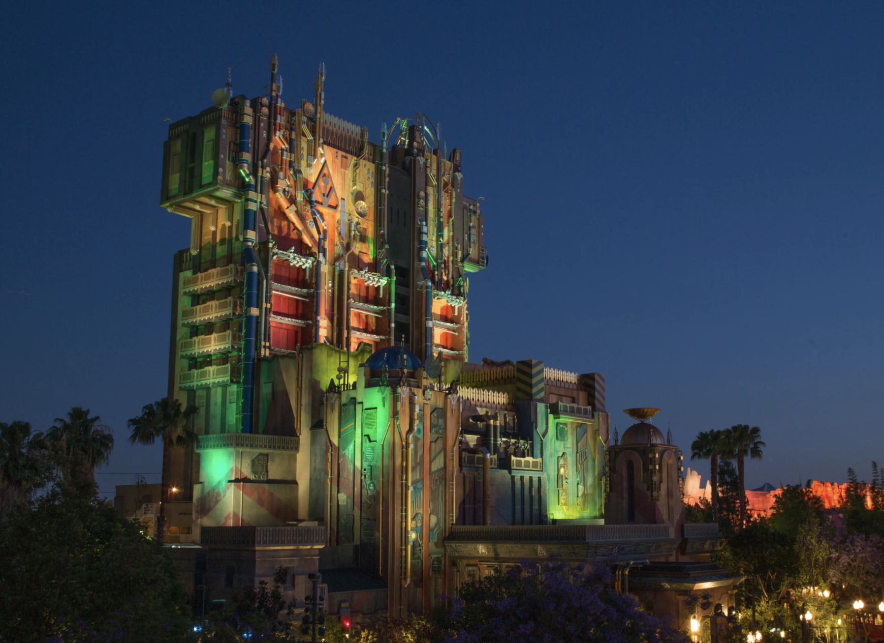 The Guardians of the Galaxy structure lit up at night