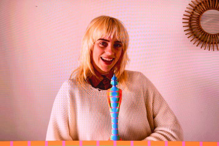 photo of billie eilish smiling with blonde hair