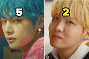 """Two BTS members are showing their side profile labeled, """"5"""" on the left and """"2"""" on the right"""