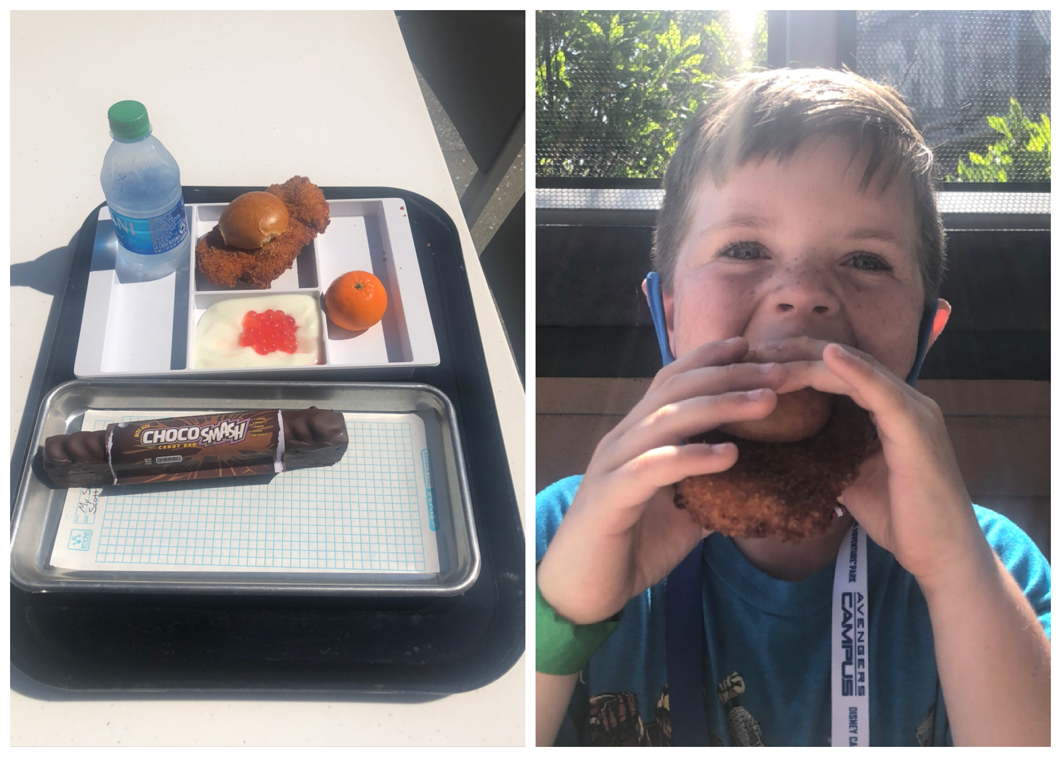 The child's meal next to a photo of James eating the sandwich
