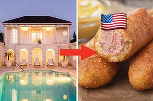 A well-lit mansion and pool is on the left with an arrow pointing at corn dogs, labeled, with a US flag emoji