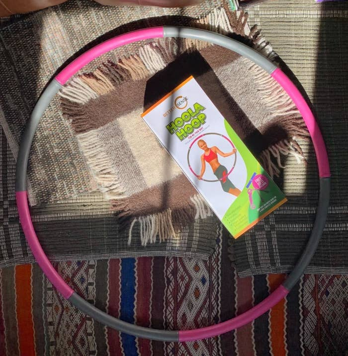 a reviewer photo of the hula hoop in pink