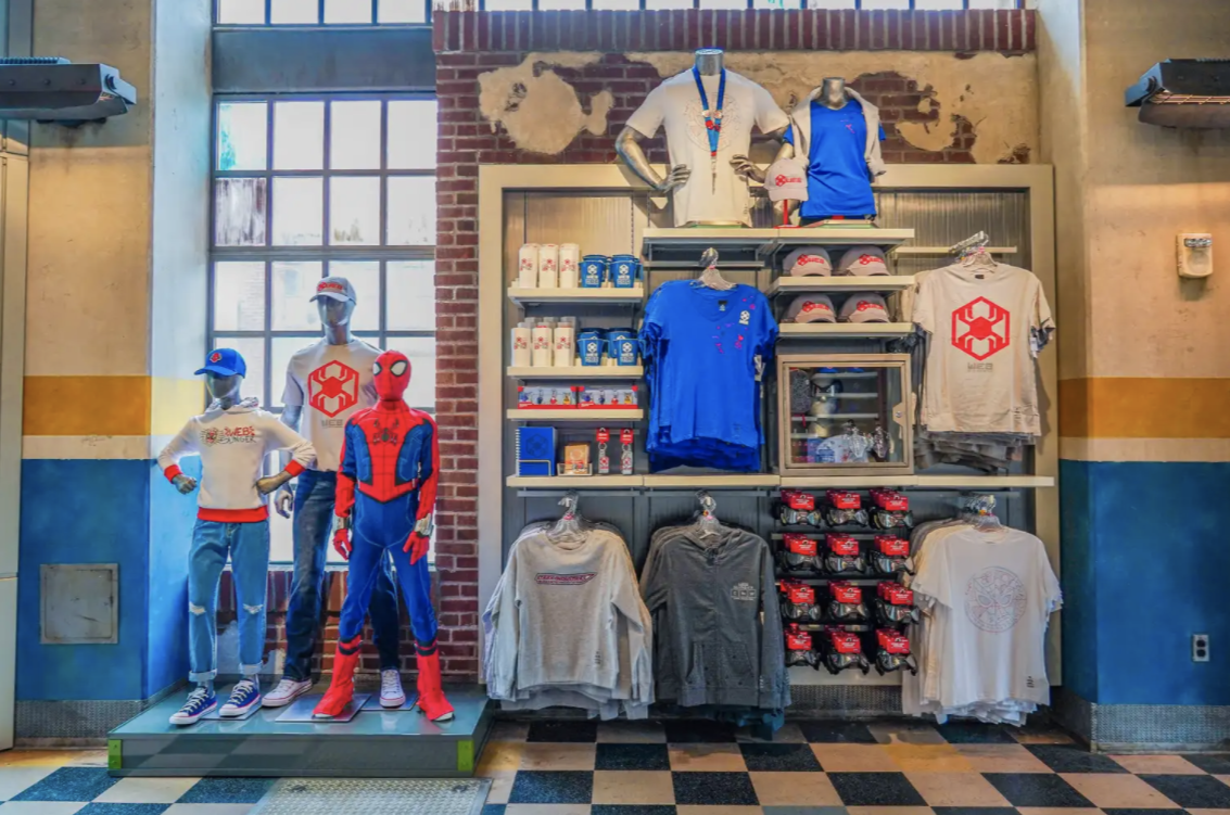 A wall of spider-man merchandise