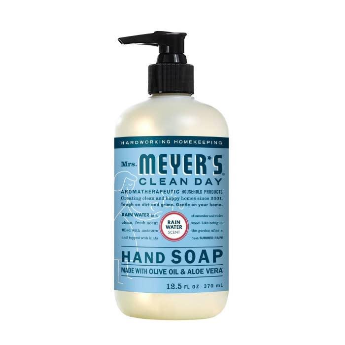 A blue bottle of hand soap