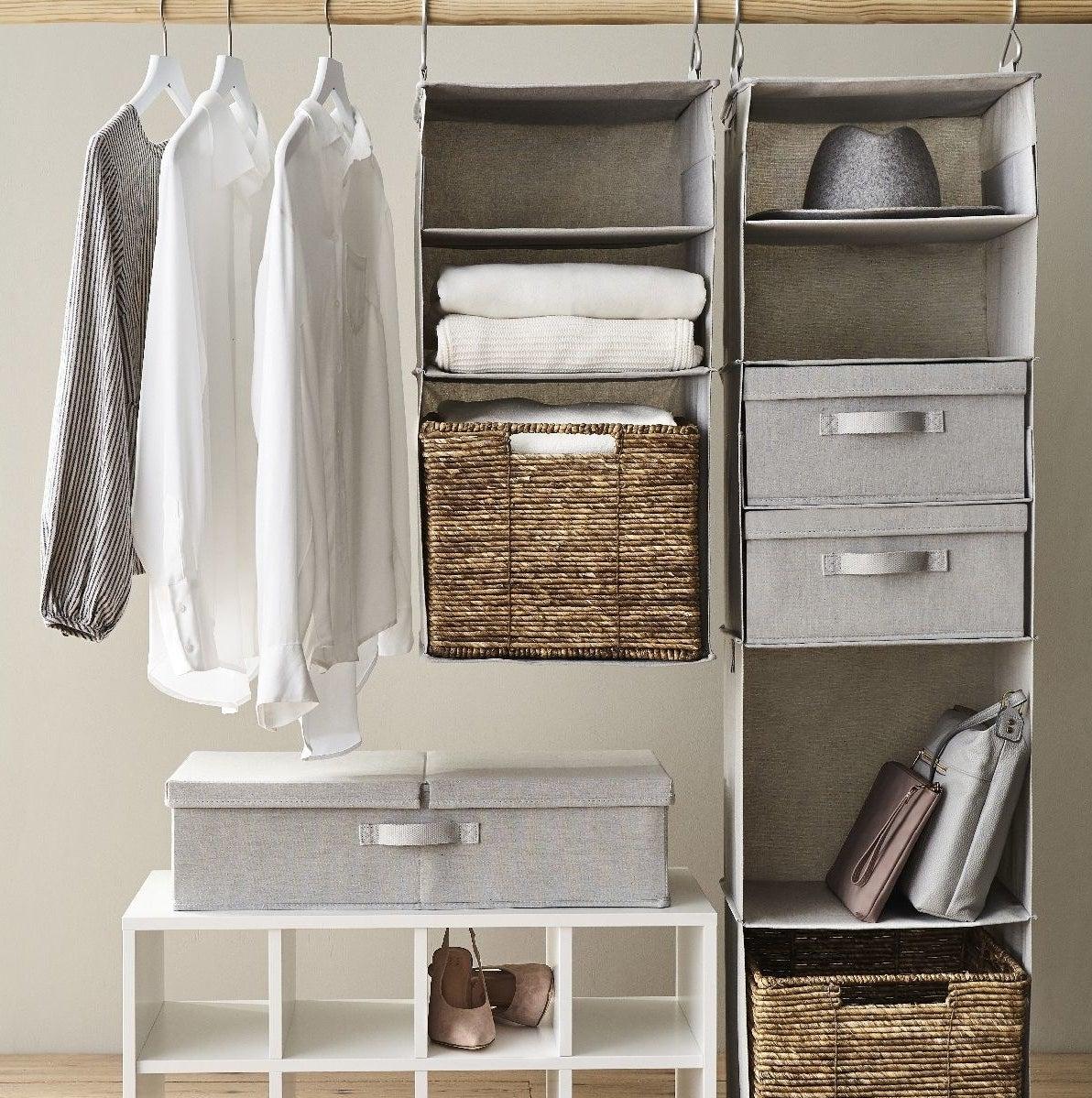 A pretty grey box in a closet with all neutral shades