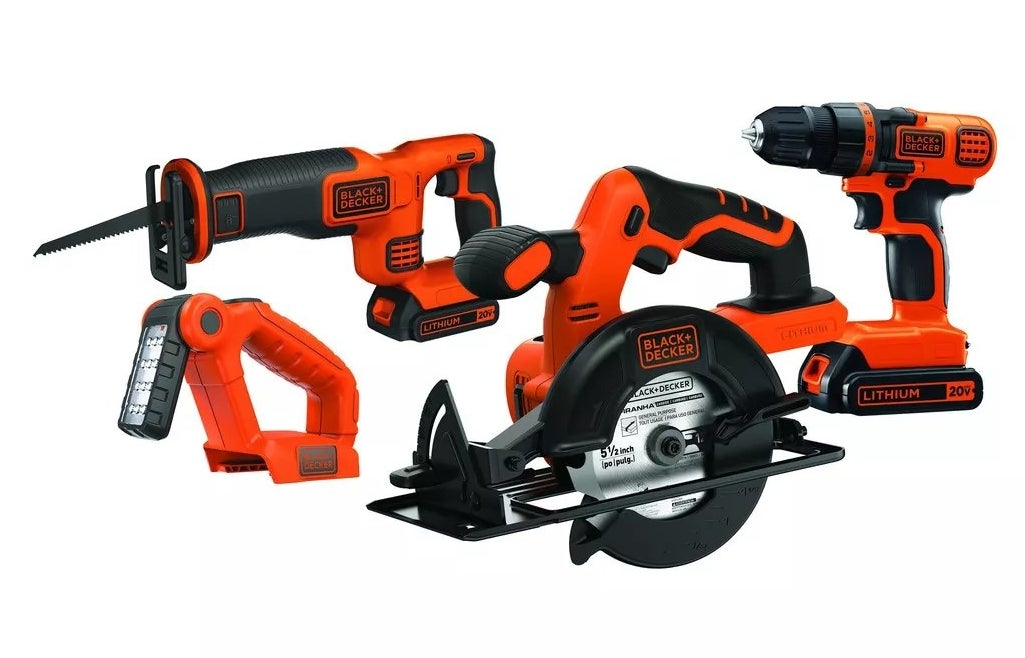 Black+Decker circular saw, cordless drill, reciprocating saw, a drill driver, and a worklight