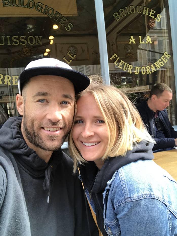 Couple at a café in Paris