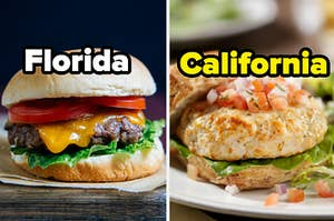 """A cheeseburger is on the left labeled """"Florida"""" with a chicken burger on the right is labeled, """"California"""""""