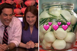 """Two members from """"The Office"""" are on the left with a jar of pickled eggs on the right"""