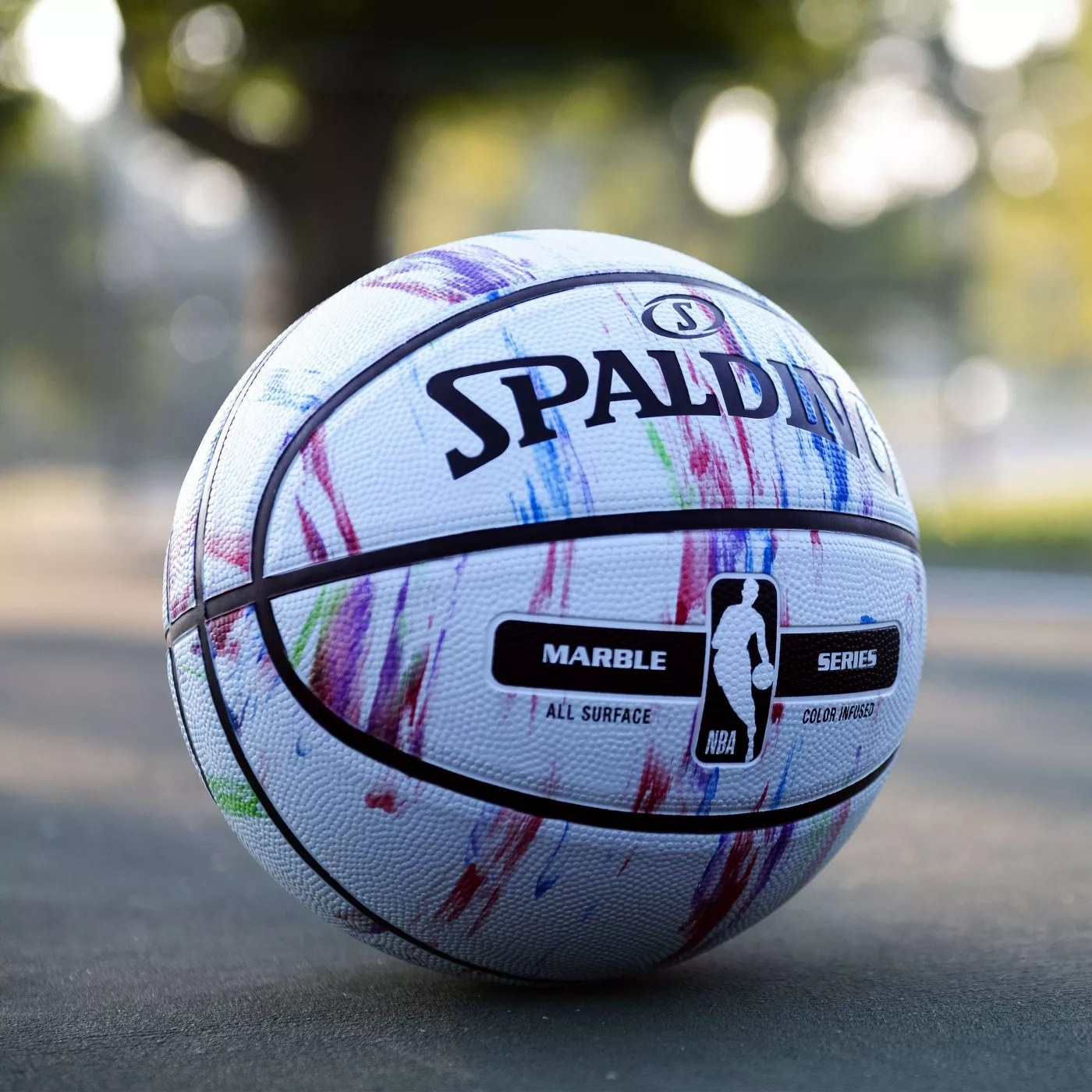 The Spalding all-surface basketball with a marble pattern