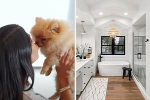 Kim Kardashian is on the left kissing a dog with a modern bathroom on the right
