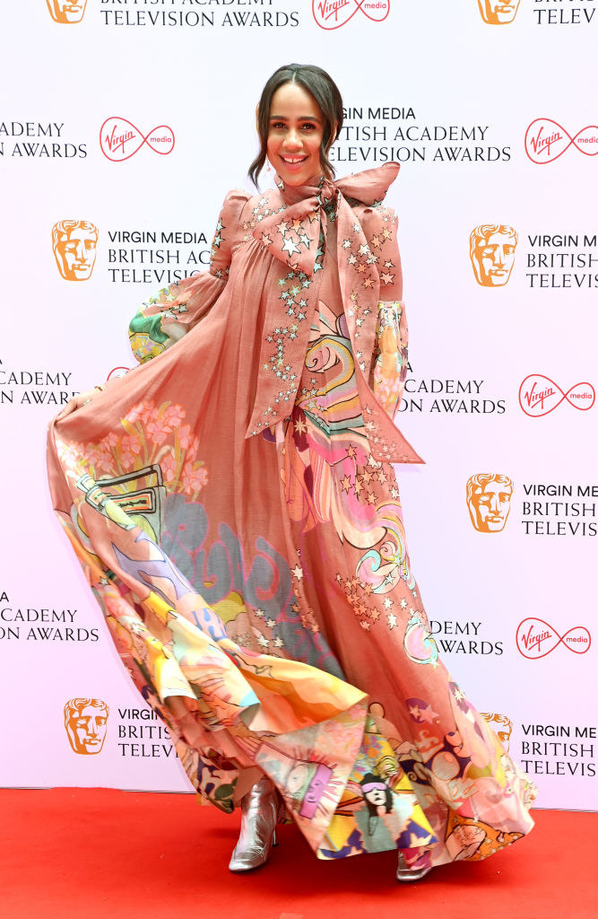 Zawe Ashton in a multi-print gown and metalliic shoes the Virgin Media British Academy Television Awards 2021