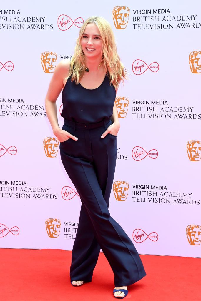 Jodie Comer attends the Virgin Media British Academy Television Awards 2021 in a jumpsuit
