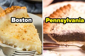 """Sugar pie is on the left labeled, """"Boston"""" with chocolate pie labeled, """"Pennsylvania"""""""