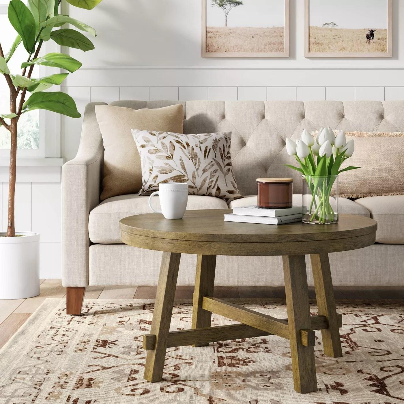 The round, farmhouse coffee table