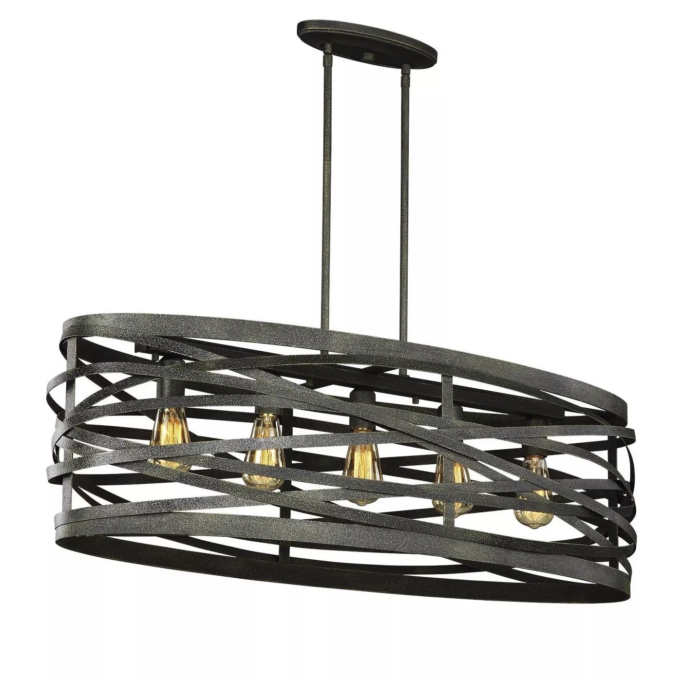The 5-bulb light fixture with gray, freeform rings around them