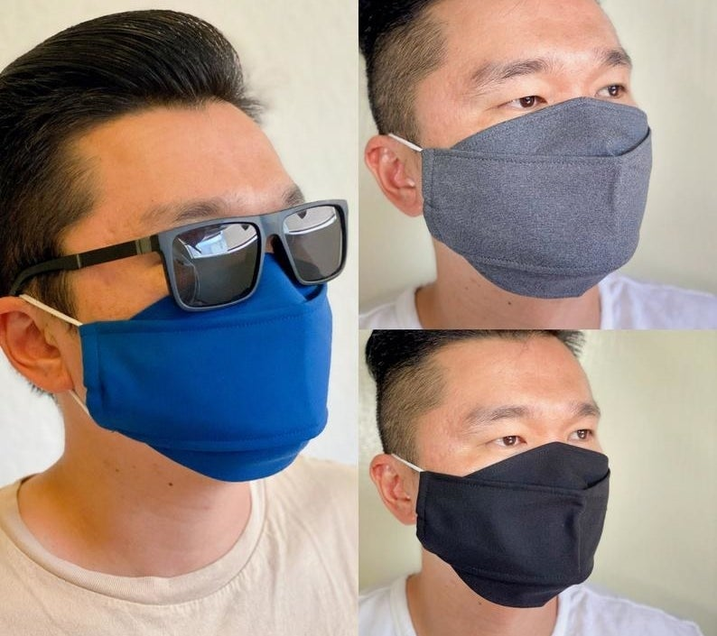 a collage of a model wearing the face masks in three different colors