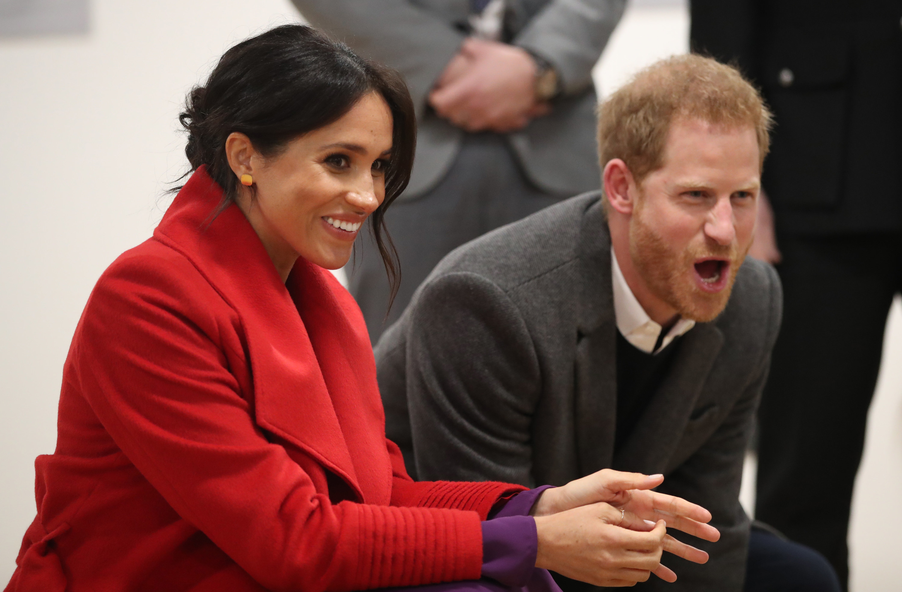 Meghan, Duchess of Sussex and Prince Harry, Duke of Sussex during their visit to the Hive, Wirral Youth Zone as part of a visit to Birkenhead on January 14, 2019, in Birkenhead, United Kingdom
