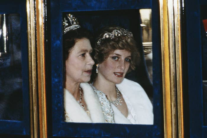 The Princess of Wales and the Queen attend the Opening of Parliament in London, November 1982