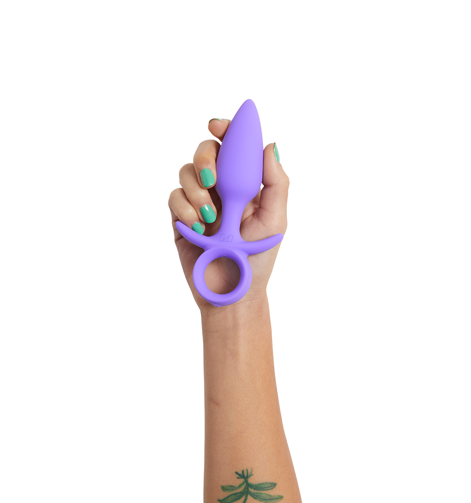 Purple silicone tapered anal plug with finger loop base