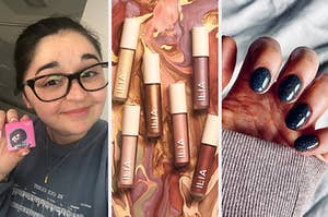 to the left: buzzfeed editor with a lipstick powder, middle: liquid eyeshadow, to the right: a gel manicure