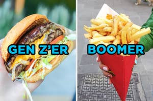 """On the left, someone holding up a cheeseburger with lettuce, tomato, and onions labeled """"Gen Z'er,"""" and on the right, someone holding up a paper cone filled with fries labeled """"boomer"""""""