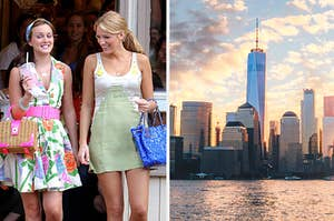 blair and serena on the left and new york city on the right