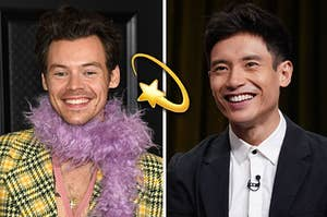 Harry Styles on the left and Manny Jacinto on the right