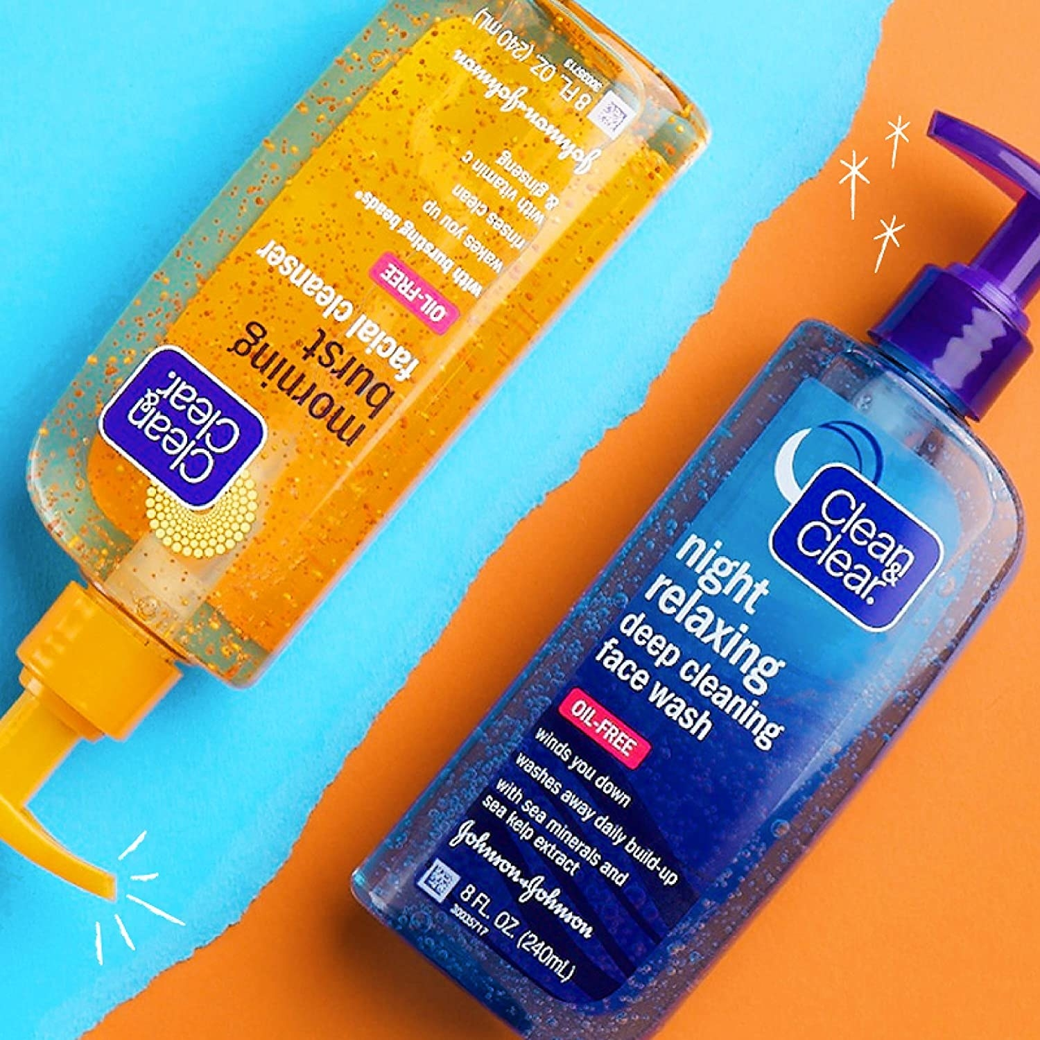 The bottles of the Clean & Clear Day and Night Face Cleansers