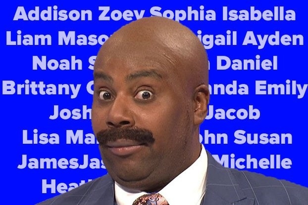Kenan Thompson as Steve Harvey in front of a lot of baby names