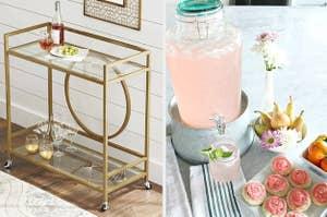 gold bar cart and glass drink dispenser