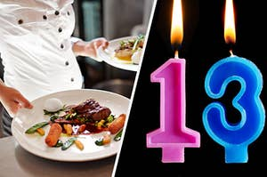 """A chef is on the left with a """"13"""" candle lit on the right"""