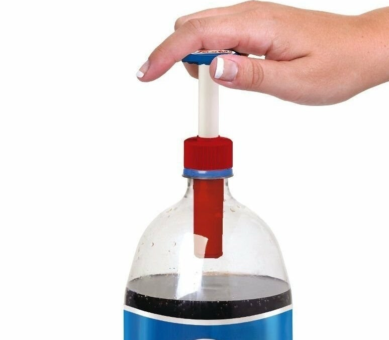 liter of pepsi with a soda pump cap in spout