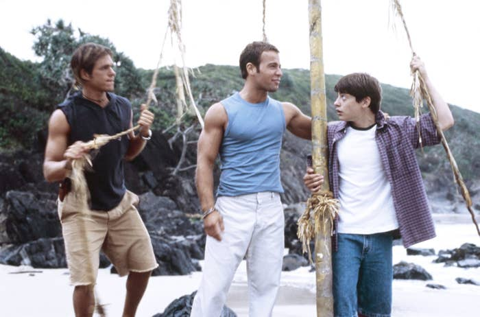 """Matthew Lawrence, Joseph Lawrence, Andrew Lawrence on the beach in """"Jumping Ship"""""""
