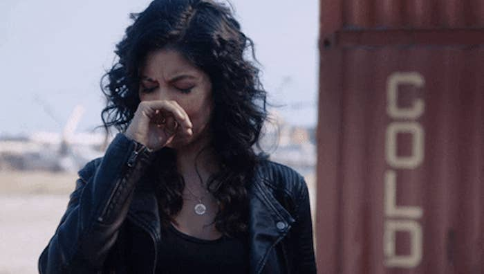 Disgusted Rosa Diaz covering her nose