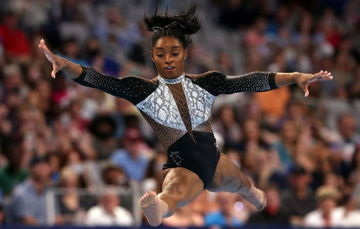 Simone Biles competes in the floor exercise during the Senior Women's competition of the U.S. Gymnastics Championships